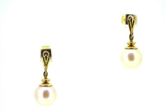Gold Pearl Drop Earrings / Vintage Pearl Drop Earr