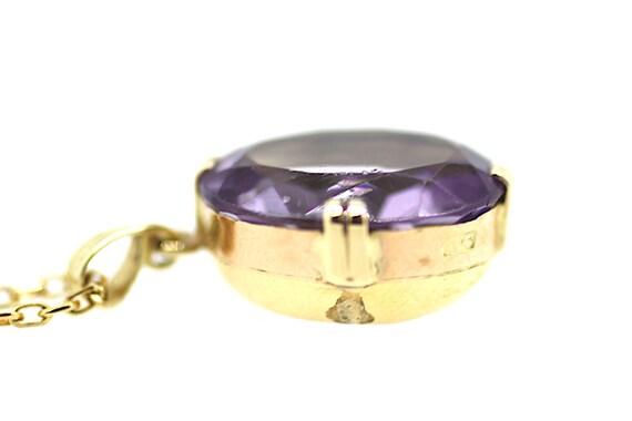 Vintage Amethyst Solitaire Pendant / Edwardian Am… - image 5