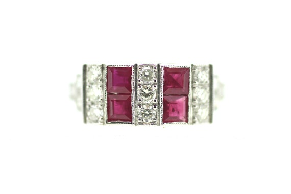Art Deco Ruby Ring / Ruby Diamond Art Deco Ring /