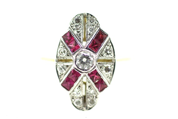 Art Deco Ruby Ring / Antique Ruby Diamond Ring / B