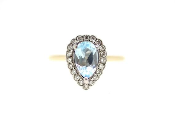 Aquamarine Diamond Ring / Pear Shape Aquamarine Ri