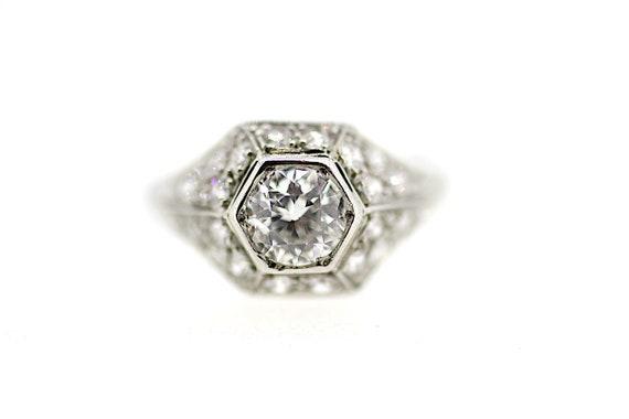 Art Deco Platinum Diamond Bomb Ring / Antique Art