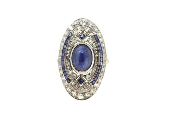 Art Deco Sapphire Statement Ring / Art Deco Diamon