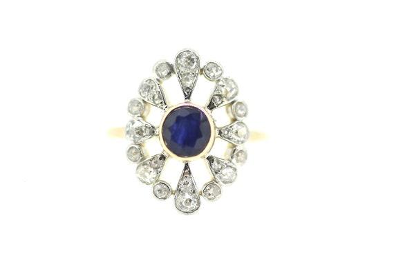 British Art Deco Sapphire Ring / Art Deco Sapphire
