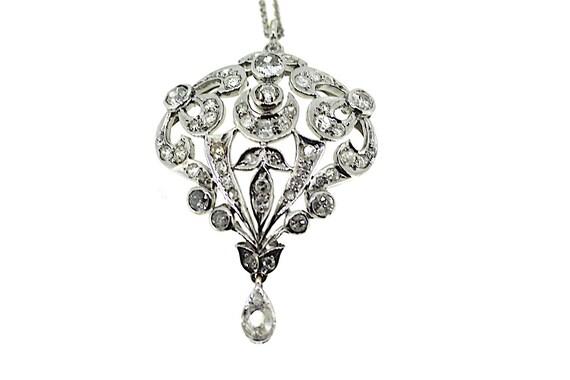 Edwardian Diamond Shield Pendant Edwardian Diamond Necklace Etsy