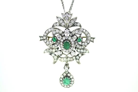 British Victorian Emerald Diamond Pendant / Antiqu