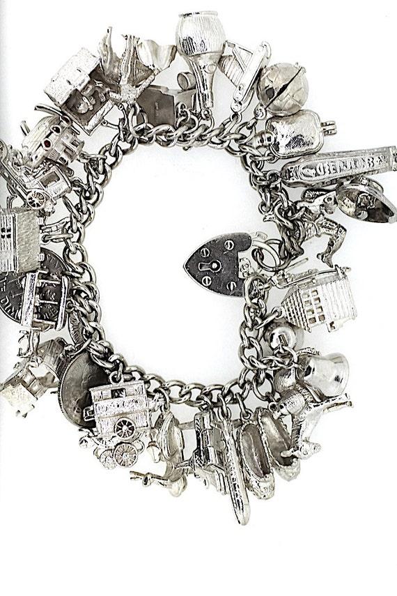 Full Charm Bracelet / Silver Charm Bracelet / Vin… - image 2