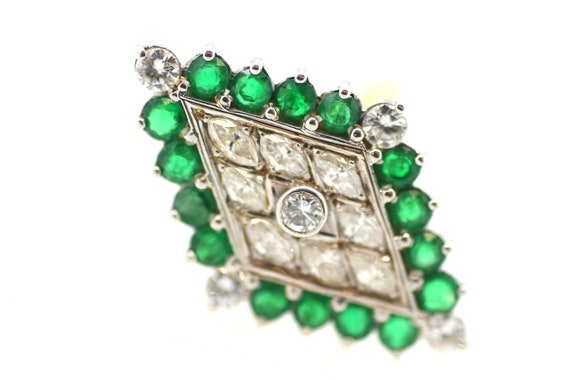 Vintage Emerald Diamond Ring / Diamond Shape Emer… - image 6