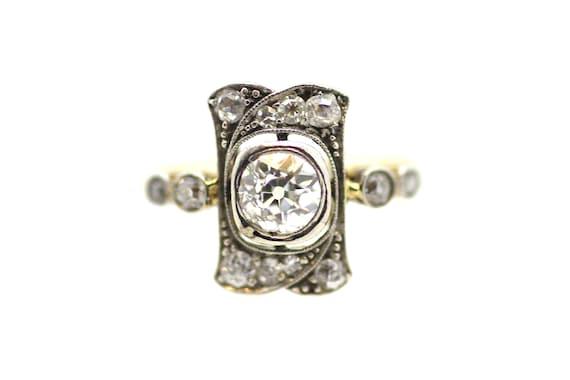 Ornate Art Deco Diamond Ring / British Art Deco Di