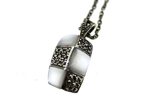 Vintage Silver Marcasite and Mother of Pearl Penda