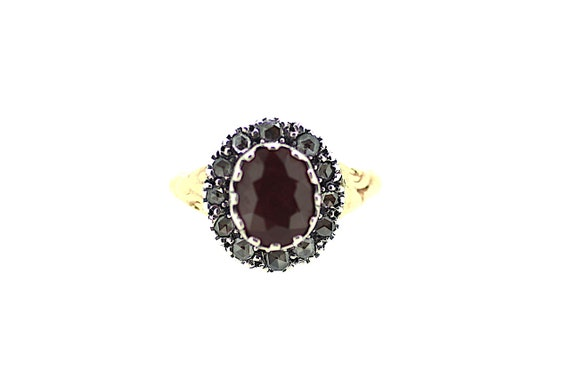 meilleur service f912e 3ce87 Bague diamant rubis victorien / bague Solitaire rubis victorien / anneau de  diamant Halo Ruby victorien authentique Bague / anneau de Ruby britannique  ...