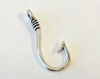 925 Sterling Silver Lucky Fish Hook pendant. US@GEMS