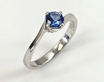 925 Sterling Silver Ring created Sapphire 0,5 ct. Jewelry.