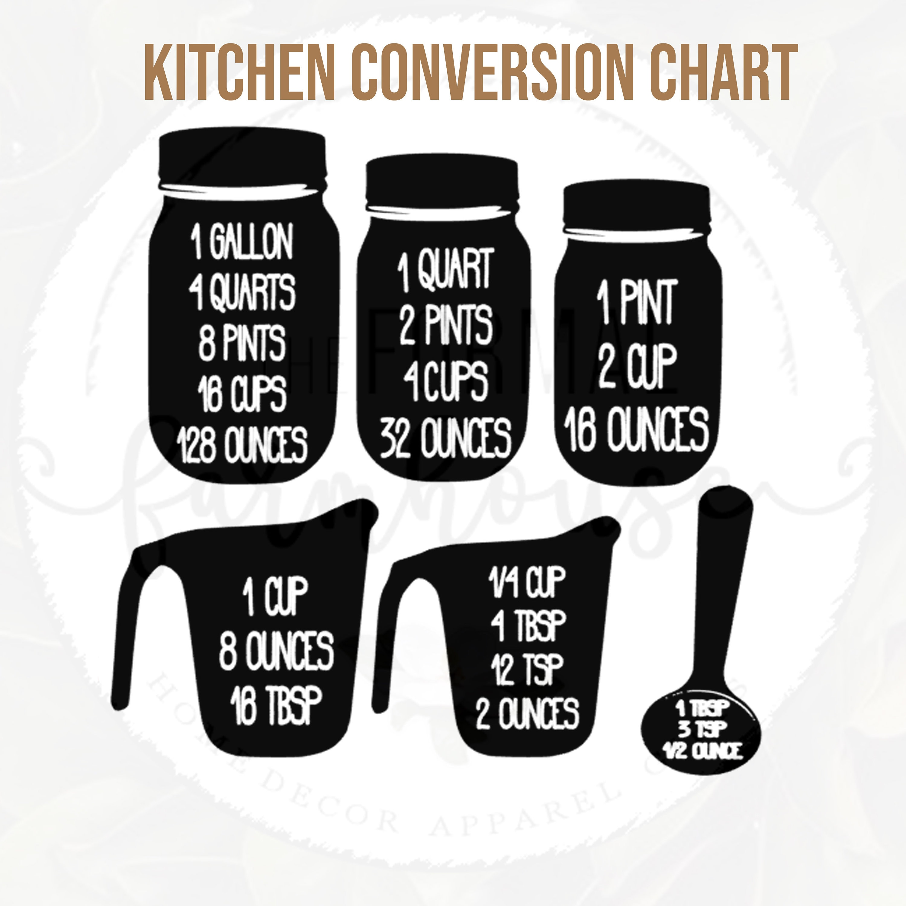 Kitchen Conversion Chart Measuring Cheat Sheet Etsy