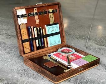 The Writing Box - Portable Writing Desk - Wood Stationery Box - Writing Slope - Pen Storage Box - Gift for Writers