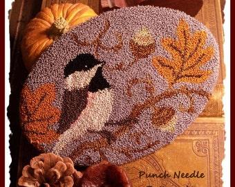 Chickadee Autumn Punch Needle Pattern Download by Diane Knott LLC