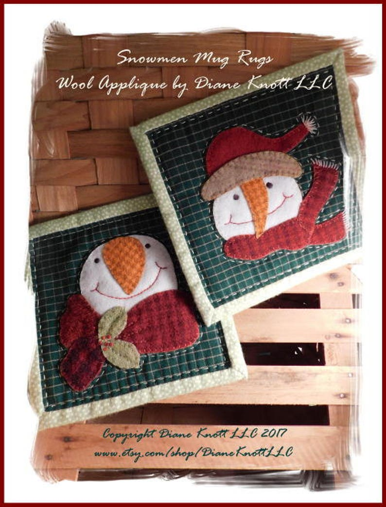 Snowman Mug Rugs Wool Applique Pattern Download by Diane Knott LLC - Easy  for Beginners - Quick Gift Idea - Holiday Table Decor