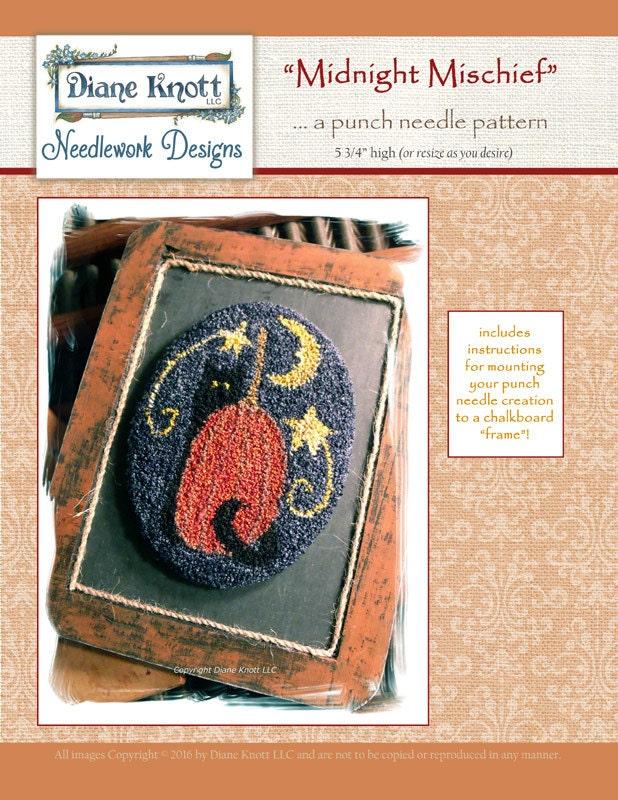 Midnight Mischief Punchneedle Pattern Download By Diane Knott Etsy
