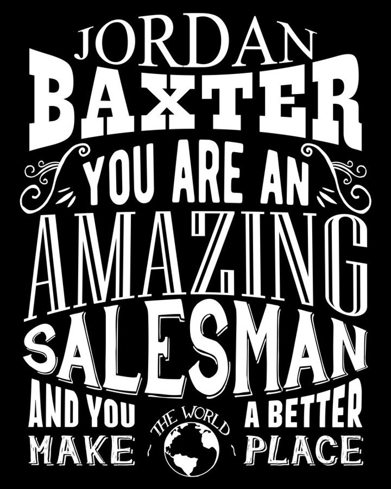 Custom Amazing Salesman Gift From Wife Colleague Car Salesman Door Cold Call Personalized Art Print Canvas or Paper 1217 Metal