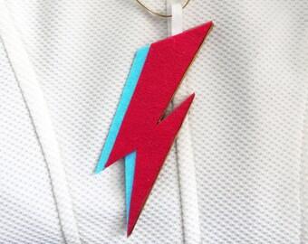 Ziggy Stardust Hanging Christmas Tree Decoration Ornament Flash Lightening Bolt Felt Aladdin Sane David Bowie Rebel Rebel Music Red