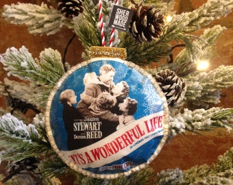 its a wonderful life christmas tree decoration unique hand made hand stitched christmas vintage retro 1940s 1950s