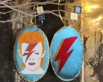 Ziggy Stardust David Bowie Christmas Hanging Decoration Ornament Unique Alternative Glam Rock Flash Felt Aladdin Sane Bowie Gift Idea