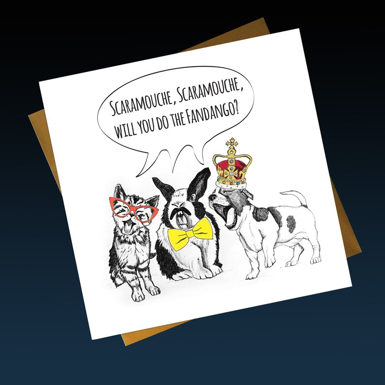 Freddie Mercury Birthday Card Queen Funny Bohemian Rhapsody Lyric Greetings Illustration Singing Cat Rabbit And Dog Scaramouche Rock