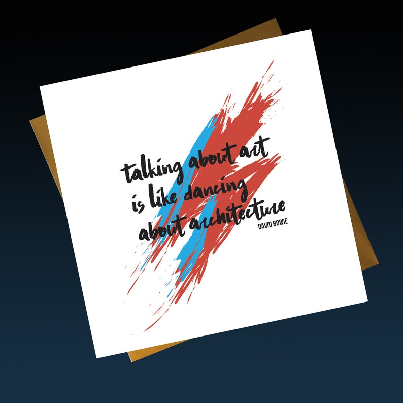 Bowie Art Quote Print Greeting Birthday Card Aladdin Sane Etsy