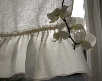 Linen Cafe Curtain Romantic Cafe Curtains with Rufle Shabby Chic Curtains French Country Cafe Curtain with Ruffle