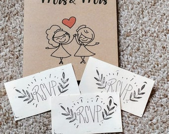 Mrs & Mrs Wedding Invitations
