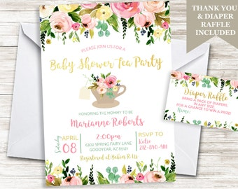 Tea party baby shower invitation etsy baby shower tea party invitation invite sprinkle floral flowers gold garden digital 5x7 personalized diaper raffle included filmwisefo