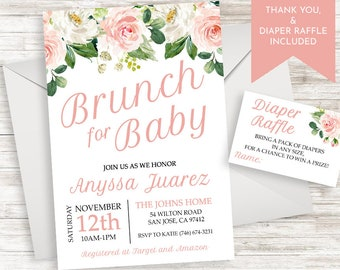 d2aecba1b8b Baby Shower Brunch Invite Invitation Blush Floral Watercolor Pink Flower  5x7 Digital Sprinkle Girl Pink
