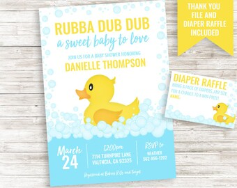 Duck baby shower etsy rubber duck baby shower invitation invite digital ducky sprinkle 5x7 bathtub bath time yellow blue filmwisefo