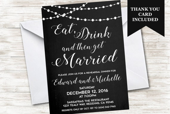 Dinner Rehearsal Invitation Eat Drink Then Get Married Etsy