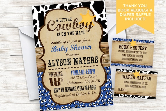 Cowboy Baby Shower Invitation Invite Boy Bandana Country Etsy