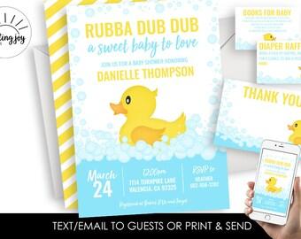 Rubber Duck Baby Shower Invitation Invite Digital Ducky Sprinkle 5X7 Bathtub Bath Time Yellow Blue Bundle Set