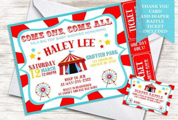 Circus Birthday Bonanza Invitation 5x7 Custom Digital Card