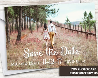 Save the Date Announcement Photo Card 7x5 Digital Personalized Picture White Font Cursive Simple