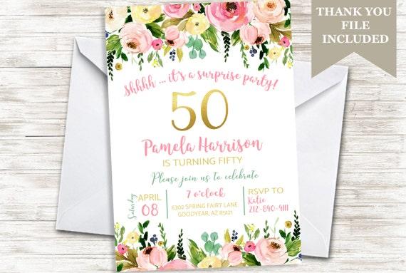 50 Geburtstag Blumen Womens Erwachsenen Funfzig Funfzigsten Etsy