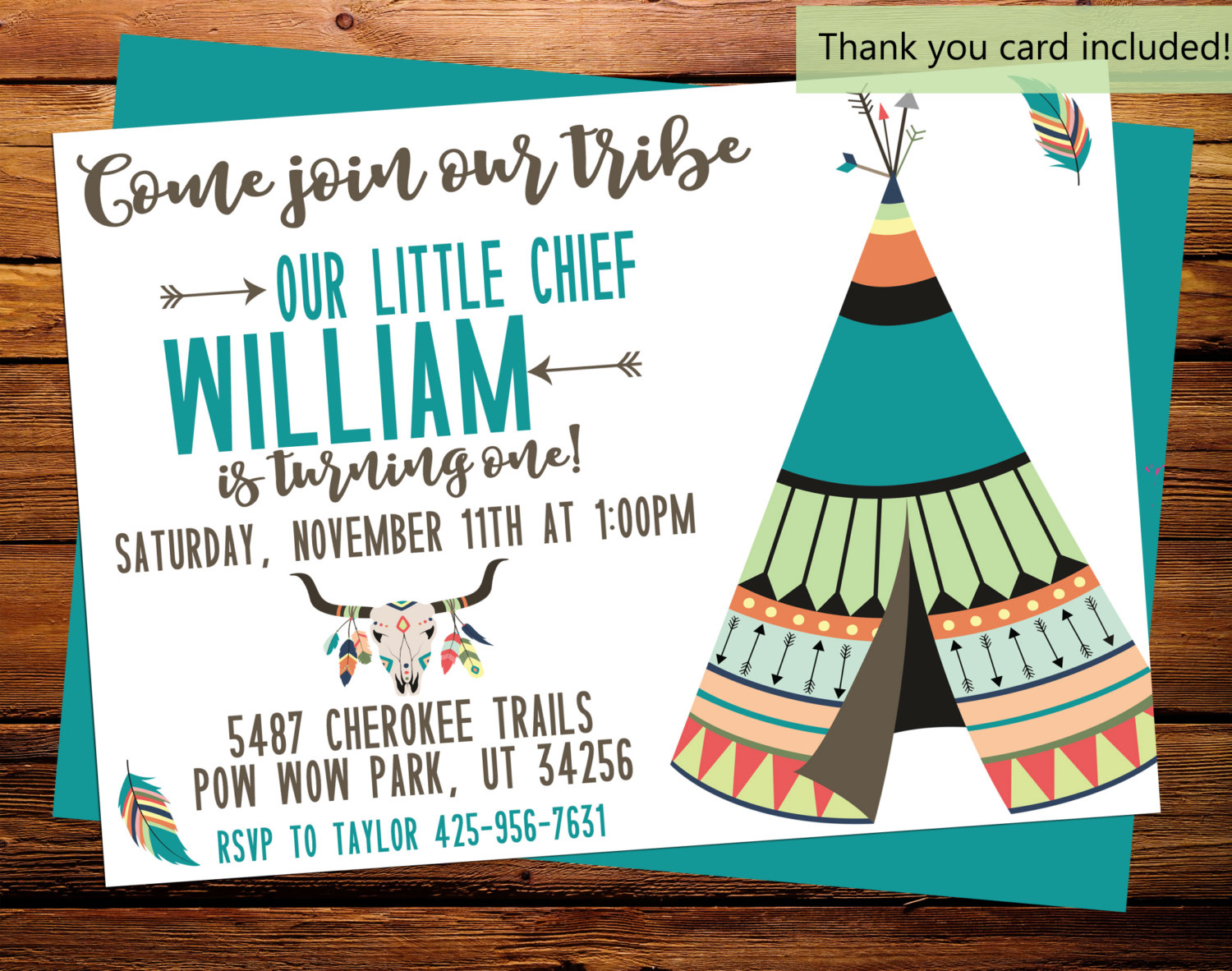 Our little Chief Invite Birthday Invitation TeePee Tribe Pow   Etsy