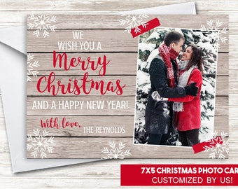 Christmas Photo Card Rustic Holidays Snowflakes Washi Tape Wood Shabby Chic 7x5 Digital