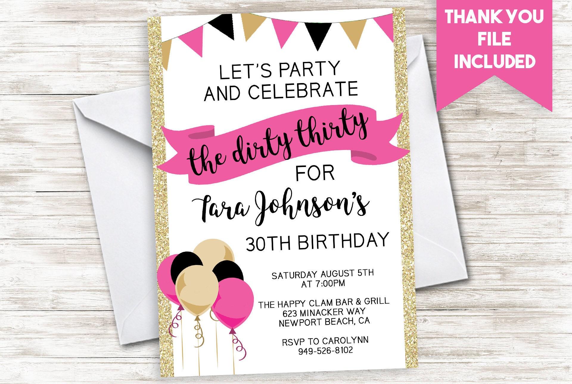 Dirty Thirty Invite Invitation Digital Women S Adult Pink Etsy