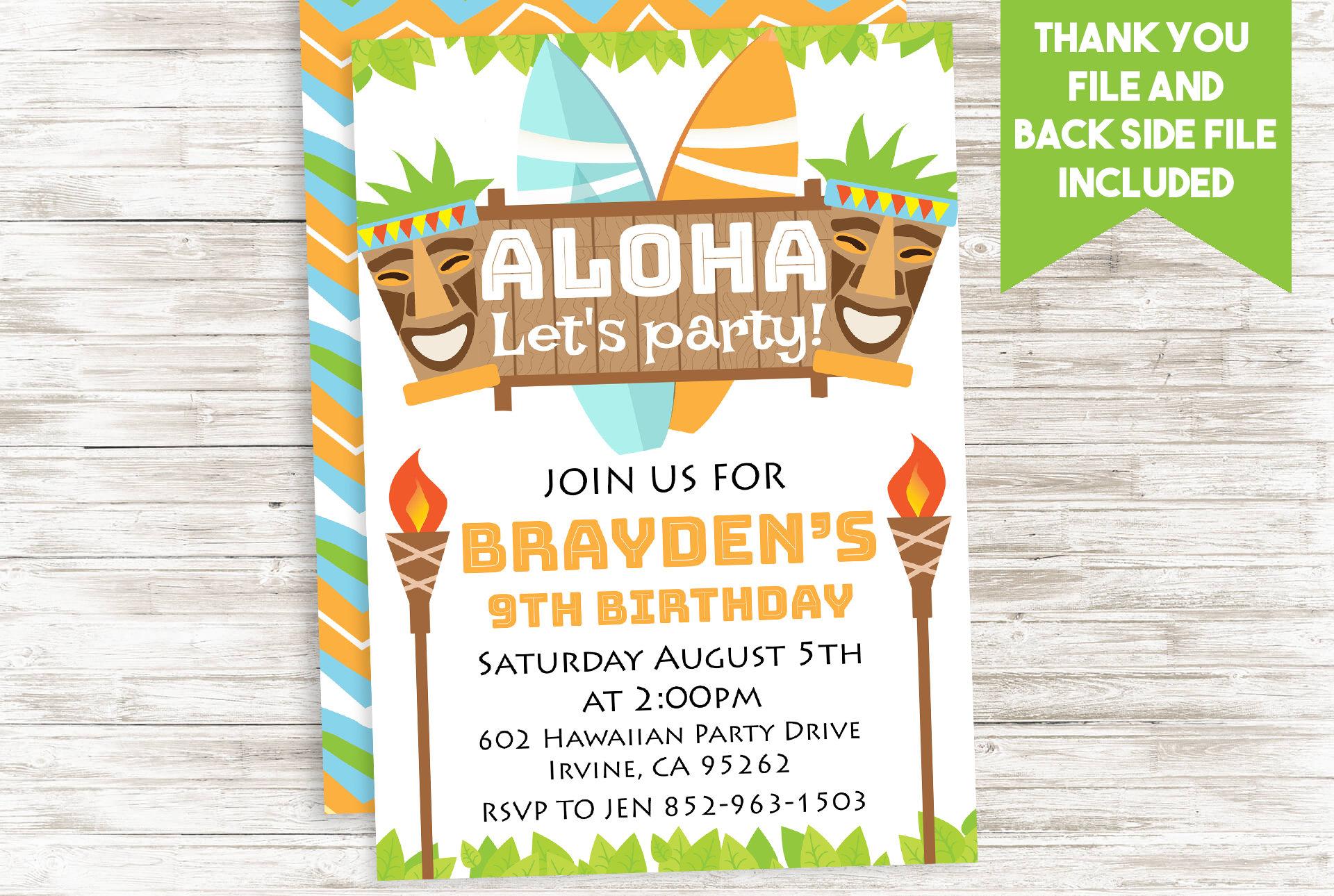 Hawaiian Invitation Invite Aloha Luau Digital Birthday Tiki | Etsy
