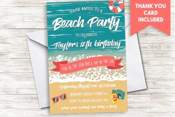 beach birthday party invitation invite digital 5x7 etsy