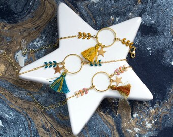 HYDRA - enamelled with ring, Star and mustard yellow tassel bracelet