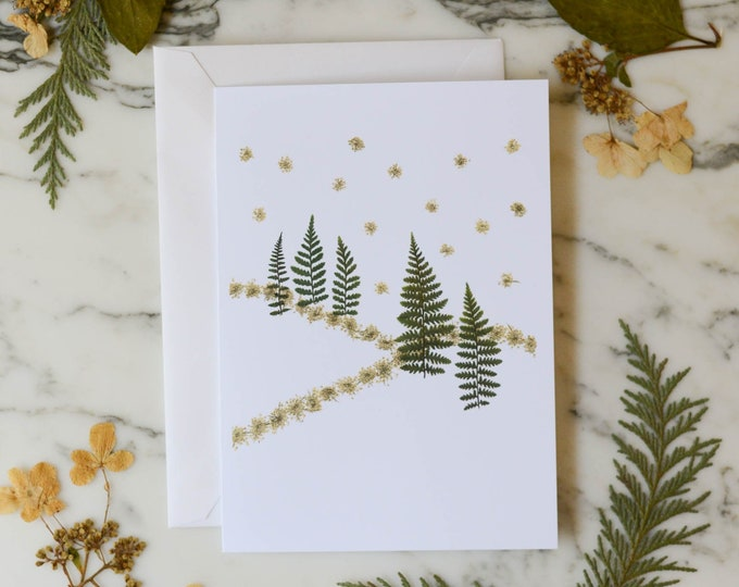 Snowy Hills | Blank Greeting Card with white linen envelope | Print reproduction of pressed flower design | 4.5x6""