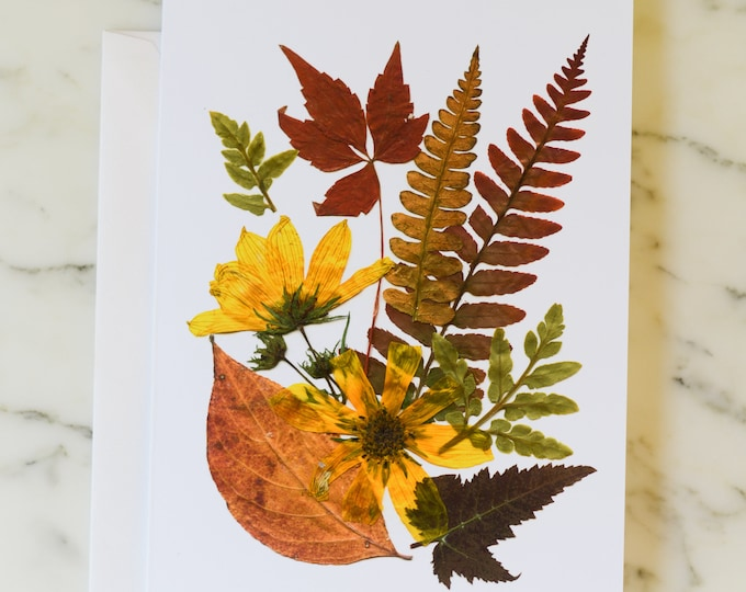 """Four Seasons: Autumn   Blank Greeting Card with white linen envelope   Print reproduction of pressed flower design   4.5x6"""""""
