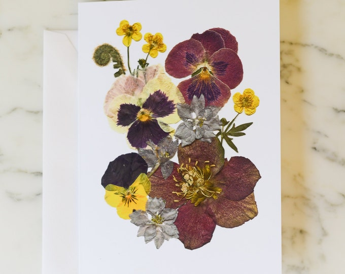 """Four Seasons: Spring   Blank Greeting Card with white linen envelope   Print reproduction of pressed flower design   4.5x6"""""""
