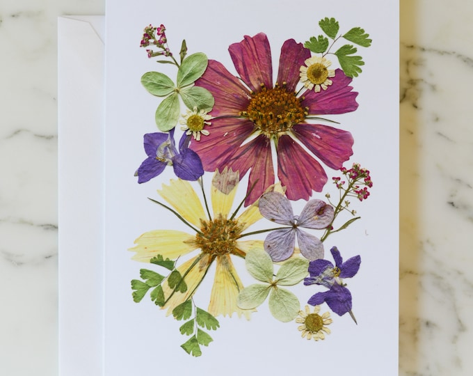 """Four Seasons: Summer   Blank Greeting Card with white linen envelope   Print reproduction of pressed flower design   4.5x6"""""""
