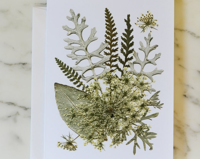 """Four Seasons: Winter   Blank Greeting Card with white linen envelope   Print reproduction of pressed flower design   4.5x6"""""""